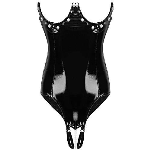 QPYUS Conjuntos De Lencería para Mujer Mujeres Sexy Body Lencería Sin Tirantes con Cadena De Perlas Sexy Leotardo Body Erotic Nightwear-Black_S