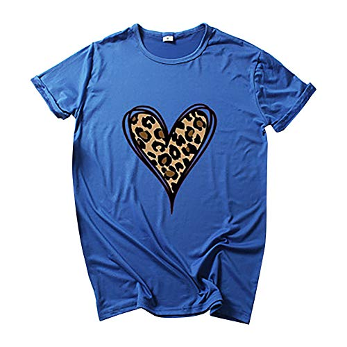 Camiseta básica de verano para mujer, diseño conciso, elegante, manga corta, cuello redondo, básica, camiseta de verano, túnica, azul B, M
