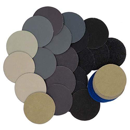 RWJFH papel de lija Juego de 182 piezas de disco de lijado de papel de lija de 2 pulgadas Hojas de lijadora en seco y húmedo con almohadilla de lijado almohadilla de pulido de espuma Juego de lijado