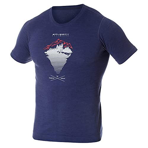 BRUBECK Herr T-shirt | kortärmad skjorta | Vandringsskjorta | andningsbar | fritidsskjorta | funktionell skjorta sömlös | kortärmad skjorta män | 27 % merinoull | SS12650A Mörkblå – berg L