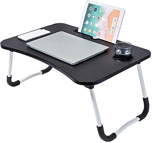 Foldable Laptop Bed Tray - Foldable Desk with Storage Drawer, Folding Aluminum Tube Legs - Mobile Phone and Tablet Slot, Pen and Cup Holders - Portable Ergonomic Table for Work, Gaming, Movie Nights