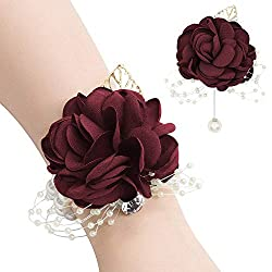 Maroon Red Corsages and Boutonniere Pins Set Bracelets