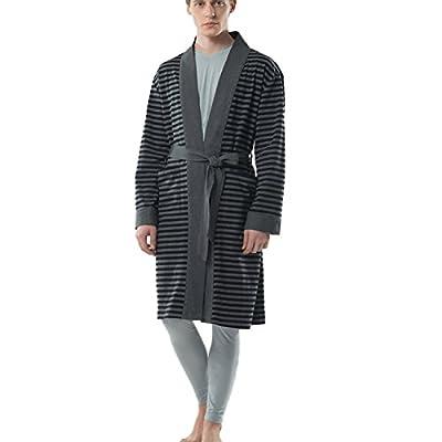 JOHN&ELAINE Men's Robe Striped Cotton Lightweight Bathrobe Long Sleeve Soft Sleepwear