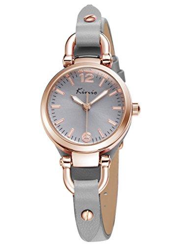 Alienwork Armbanduhr Damen Rosegold Lederarmband grau Retro Elegant Klein