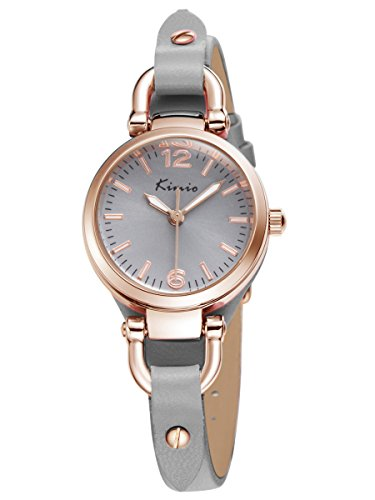 Alienwork Damen-Armbanduhr Quarz Rose-Gold mit Lederarmband grau Retro elegant klein