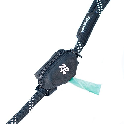 ZippyPaws - Adventure Leash Bag, Dog Poop Bag Holder Leash Attachment - Volcano Black
