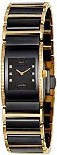 Rado Women's Two Tone Gold Black Dial Watch - R20753752