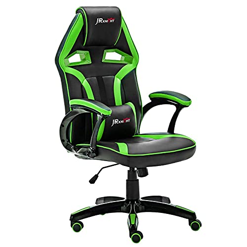 JR Knight Ergonomic Gaming Chair Home Office Computer Desk Chair with Lumbar Support and Padded Armrests Designed for Young Generation, PU Leather Swivel Chair(Black&Green)