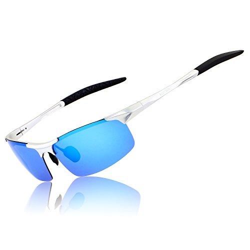 RONSOU Hombre Deporte Al-Mg Polarizadas Gafas de Sole Irrompible para Conducción Ciclismo...