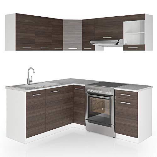Vicco Küche Rick L-Form Küchenzeile Küchenblock Einbauküche 167x187cm Anthrazit - Schrank-Module frei kombinierbar -