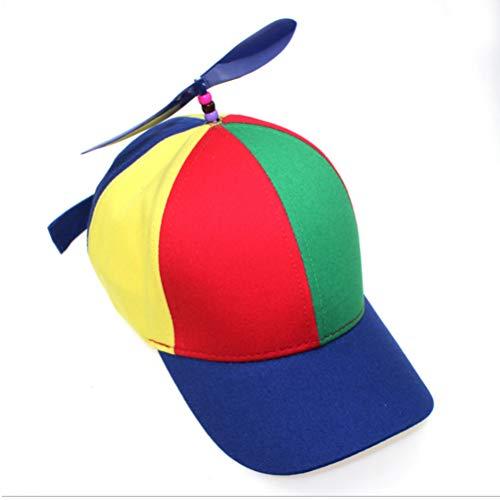 Gorra de Béisbol Propulsor de Helicóptero, Sombrero de Béisbol con Hélice Multicolor,Gorra Colorida de Retales,Sombrero con Libélula de Bambú, Gorra para Niños