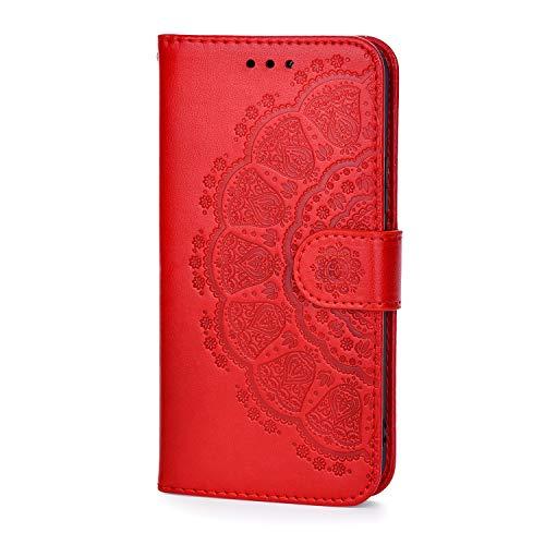 Capa Babee para Samsung Galaxy J6 Plus, [flor em relevo] Capa protetora flip de couro sintético premium com suporte para cartão e suporte, para Samsung Galaxy J6 Plus, vermelha