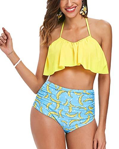 Seaoeey Bikini de cintura alta para mujer con control de barriga, Tankini de dos piezas con volantes y trajes de baño