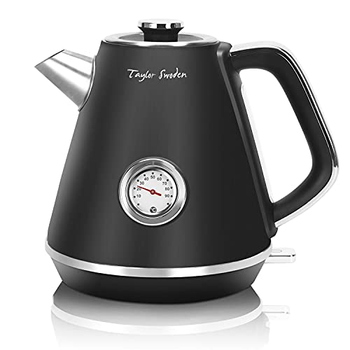 Taylor Swoden Electric Kettle, Black Stainless Steel Kettle with Temperature Gauge, 1.7L Cordless Jug Kettle Tea Water Boiler, Auto Shut Off & Boil Dry Protection, 2200W - Aladin 30QZU