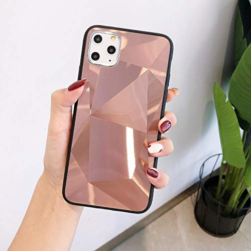 FQSCX Funda para iPhone 3D Diamond Mirror Funda para teléfono para Apple iPhone 6 6s 7 8 SE X XR XS Plus Funda de Color para iPhone 11 12 Mini Pro MAX Back Coque Capa ForiPhoneSE2020 Rosegold