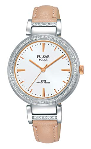 Seiko UK Limited - EU Analoge Japanse Quartz Pulsar Wo Solar Analoge Jurk Horloge met Lederen Band met Echte Lederen Band PY5055X1