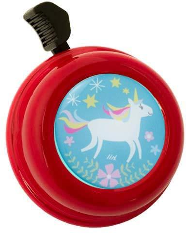 Liix Fahrradklingel Colour Bell Happy Unicorn Einhorn Motiv für Kinder und Erwachsene mit einfacher Montage (Rot)