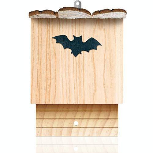 deintierhaus.de© | Fledermaushaus aus Kiefernholz - Nistkasten für Fledermäuse - unbehandelt, fertig montiert & wetterfest - Fledermauskasten zum Aufhängen - Fledermaushöhle | 27,5 x 18,5 x 13,5 cm