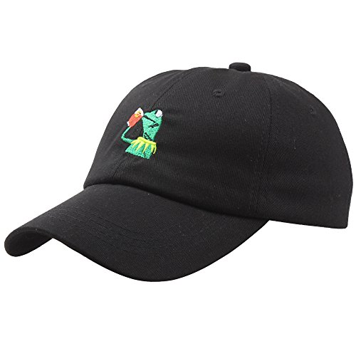 The Frog Dad Hat Baseball Cap Sipping Sips Drinking Tea Champion Adjustable Snapback Hip Hop Cotton Baseball Cap (Black)