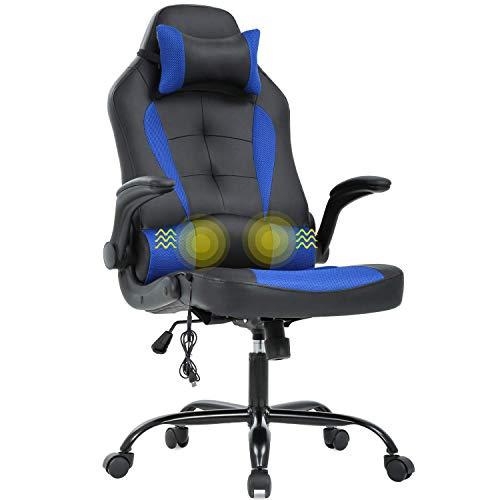 Silla de oficina para juegos, silla de escritorio, de masaje, ergonómica, de piel sintética, con apoyo lumbar, reposabrazos, silla giratoria de carreras para mujeres y adultos, azul