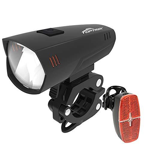 toptrek Fahrradlicht Set StVZO zugelassen, LED Fahrradbeleuchtung Set Batteriebetrieben Fahrradlampe, Frontlichter + Rücklichter/Reflektor, 20/30Lux IPX5 Wasserdicht