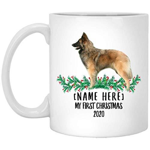 Divertido nombre personalizado belga Tervuren Sable First Christmas 2020 White Coffee Mug 11 oz