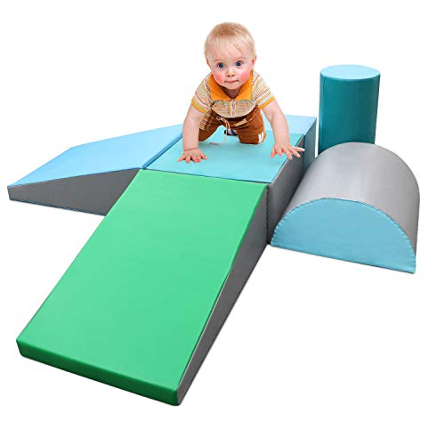 SURPCOS Climb and Crawl Activity Play Set, 6 Pieces Lightweight Foam Shapes for Climbing, Crawling and Sliding, Safe Foam Playset for Toddlers and Preschoolers,