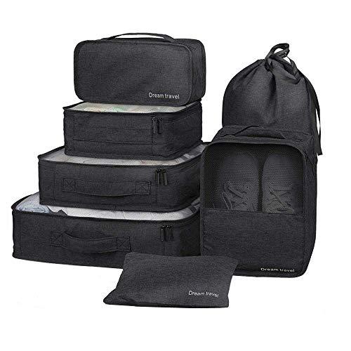 7 Set de Organizador de Equipaje-3 Cajas de Cubos + 2 Pouches+ 1 Ropa de baño + 1 Saco de Zapatos(Black)