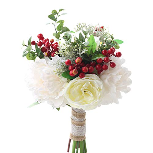 UYT Wedding Decoration Bridal Bouquet Artificial White Peonies Red Berries Hand Bouquet Decoration Bridal Accessories