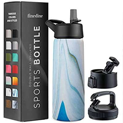 Triple Insulated Stainless Steel Water Bottle with Straw Lid - Flip Top Lid - Wide Mouth Cap (26 oz) Insulated Water Bottles, Keeps Hot and Cold - Great for Hiking & Biking (Exquisite Blue Marble)