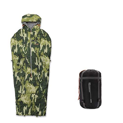 Lumaland Where Tomorrow Anziehbarer Schlafsack 210x80x60cm - 2-Wege Reißverschluss, mit Öffnungen für Arme und Füße - Outdoor Camping Body-Schlafsack - Camouflage Grün