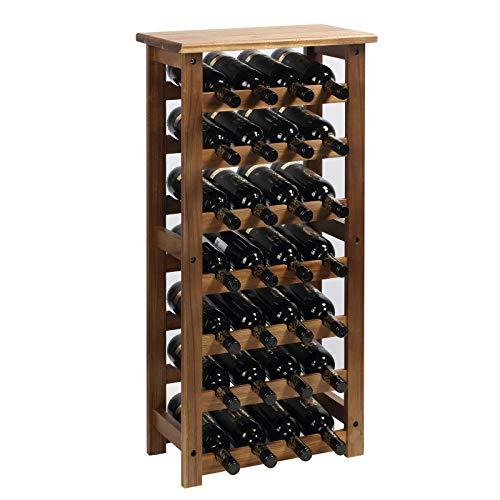 everous Wooden Wine Rack, 7 Tire Floor Wine Storage Rack, 28 Bottles Holder, Freestanding Display Rack for Kitchen, Pantry, Cellar, Natural