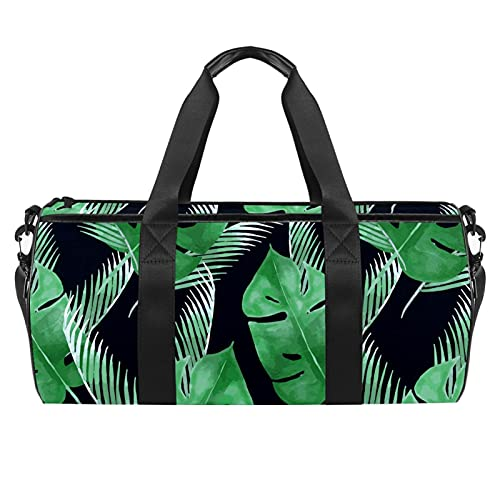 Green Leaf Tropical Gym Bag para hombres y mujeres Bolsas de fin de semana Bolsa de deporte de viaje con bolsillo impermeable