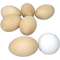 6 Huevos decoupage de madera con artesanías limpias y sólidas. Madera de haya para decorar. Tamaño de huevo - 60x40 mm -ideal para Pascua.