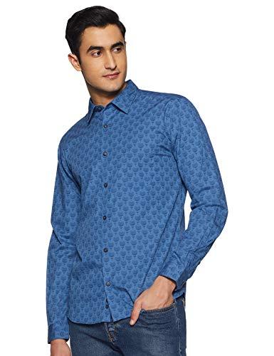 Park Avenue Men's Printed Slim fit Casual Shirt (PCSA02070-B7_Dark Blue 40)