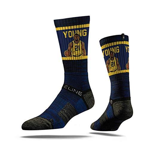 Strideline NBA Indiana Pacers Thaddeus Young Action - Calcetines deportivos de primera calidad, talla única, color negro