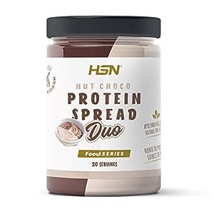 Crema Hiperproteica de Cacao y Avellanas baja en azúcar de HSN | Nut Choco Protein Spread DUO | Con Whey Protein | Saludable y Deliciosa | Sin Aceite de Palma, Sin Gluten | Vegetariana | 300 g