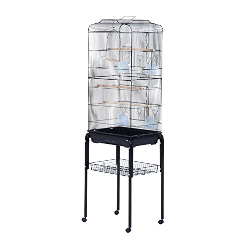 PawHut 63' Metal Indoor Bird Cage Starter Kit with Detachable Rolling Stand, Storage Basket, and Accessories, Black