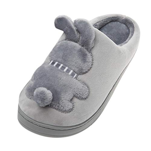 LQQSTORE Damen Hausschuhe Herren Winter Cartoon Hase Warm rutschfest Plüsch Pantoffeln Indoors Schuhe (Grau, 39.5)