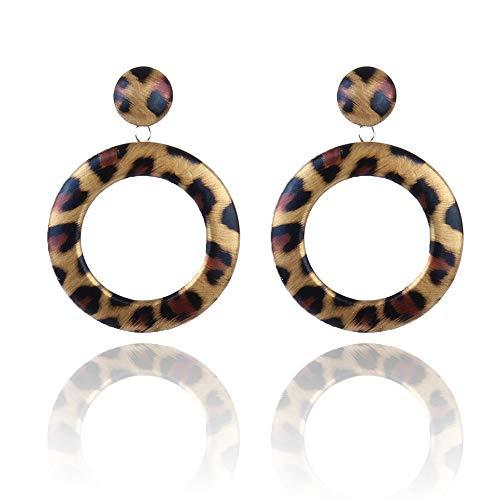 Leopard lederen hoepel oorbellen schildpad Drop Dangle Stud Oorbellen voor meisjes vrouwen Begie Bruin