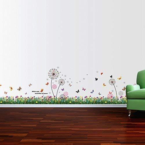 Entfernbarer Selbstklebend Wandaufkleber Britische Bunte Gras Rosa Löwenzahn Wandbild Kunst Aufkleber Home Dekoration Kinderzimmer Tapete Kinderzimmer Geschenk 350x70 cm, Mehrfarbig