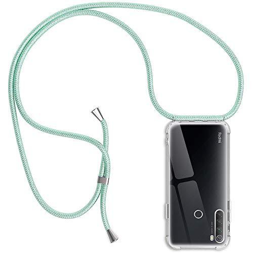 Funda para Xiaomi Redmi Note 8T, Transparente Silicona Carcasa con Cuerda para Redmi Note 8T, Rosyheart Suave TPU Gel Case con Cuerda para Colgar Ajustable Anti Golpes Protector Case, Verde Claro