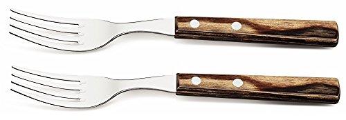 Tramontina Churrasco Lot de 2 fourchettes à steak rivetées avec poignées en bois Marron