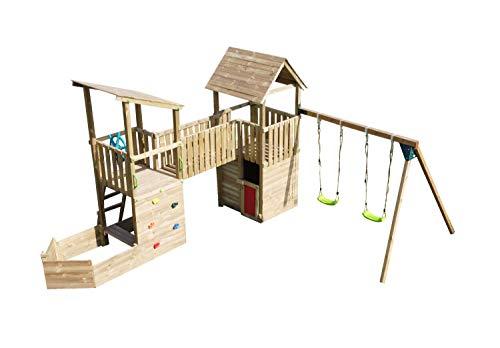 MASGAMES | Parque Infantil Pacific | Columpio de Dos plazas | Tobogán | Arenero con Forma de Barco | Pared de Escalada | Casita Duplex | Uso domésico |