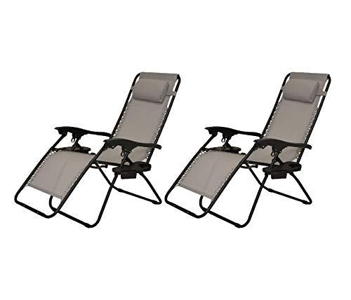 XONE Coppia poltrone Sdraio reclinabile Pieghevole Paradise con PORTABEVANDE/Cellulare/Telecomando - Portata Massima 120 kg - Textilene 2x1