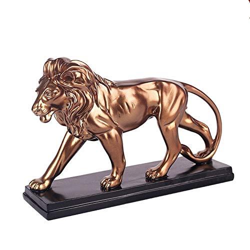 CWENROU Skulptur,Mode Kunst Goldene Design Vintage Afrikanischen Wilden Löwe Skulptur Statue Harz Dominierende Tier Löwe Dekoration Zubehör Loft Handwerk Geschenk-Statue