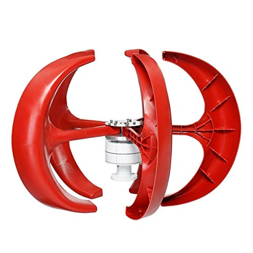 FJL Aerogenerador de Eje Vertical 4500W 5 Cuchillas Axis Verticales 24V Turbinas de Viento Generador Linterna Kit de Motor electromagnético para híbridos caseros. Aerogeneradores (Voltage : 24V)