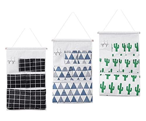 WWYLAC Paquete de 3 bolsas de almacenamiento para colgar con 5 bolsillos y 2 Pothook, organizador de puerta de pared de algodón impermeable para dormitorio, cuarto de baño y armario