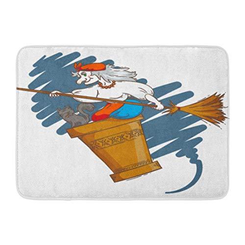 LiminiAOS Fußmatten Bad Teppiche Outdoor/Indoor Türmatte Baba Yaga Fliegen in Mörser Katze und Besenstiel Die Nacht Russische Oma Hexe Halloween Cartoon Badezimmer Dekor Teppich Badematte