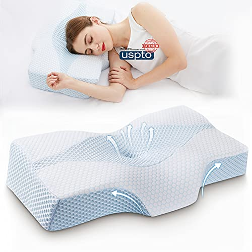 Mkicesky Side Sleeper Contour Memory Foam Pillow, Orthopedic Sleeping Pillow, Ergonomic Cervical Pillow for Neck Pain with Washable Hypoallergenic Pillowcase for Back, Stomach Sleepers (Queen Size)